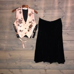 Black velvet Betsey Johnson skirt